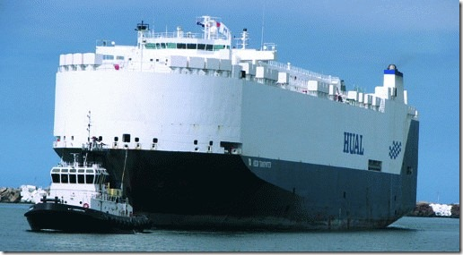 Hual Car Ship entering port