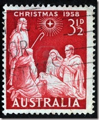 8126893-australia--circa-1958--a-greeting-christmas-stamp-printed-in-australia-shows-birth-of-jesus-christ-c